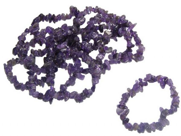 Amethyst Crystal Chip Gemstone Bracelet
